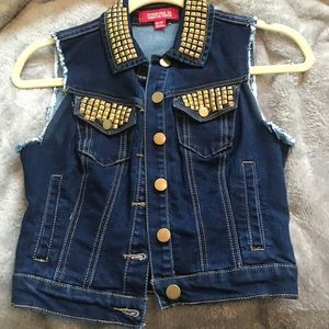 Gold studded denim vest! Only wore once!